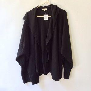 SILENCE NOISE Soft Black Hood Cardigan Sweater NWT